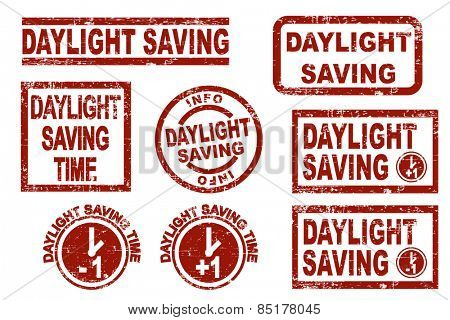 Daylight saving time grunge style ink stamps. Vector illustration on white background.