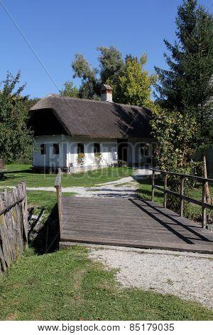 KUMROVEC, CROATIA - MAY 17, 2013: Idyllic village scene in Croatian countryside. Kumrovec historical village, Zagorje area of Croatia. Motherland of Josip Broz Tito, 1st President of Yugoslavia