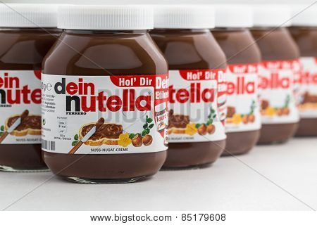 Sarajevo, Bosnia and Herzegovina - March, 10 2015:  Jars of Nutella Hazelnut Spread with