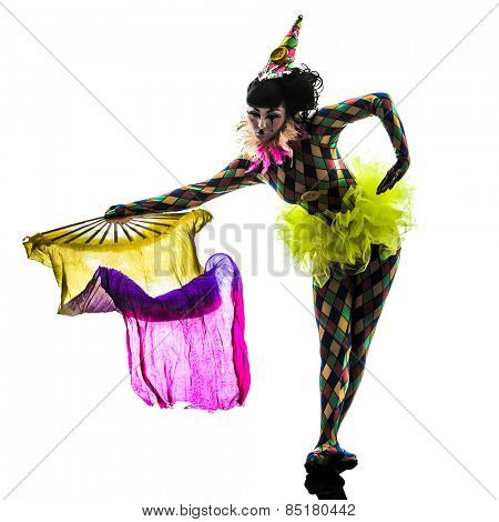 one  woman harlequin circus dancer performer in silhouette studio isolated on white background
