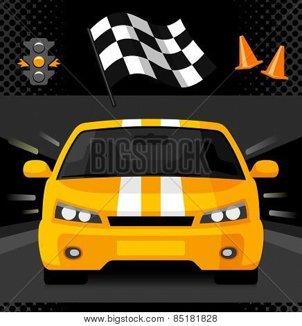 Yellow street racing car with sport checkered flag, traffic light and road cones. Vector illustration