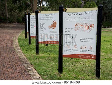Walk Trail Sign Posts In Yanchep National Park