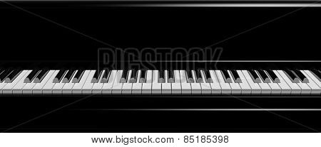 Black piano keys front view, closeup background