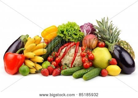 assortment fresh fruits and vegetables isolated on white
