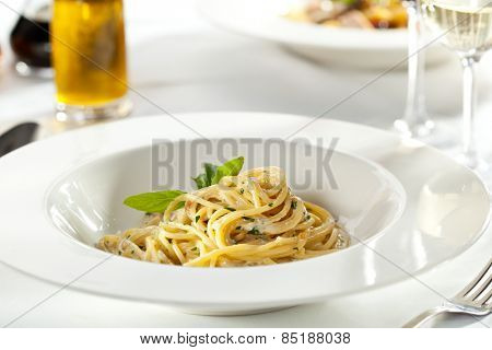 Spaghetti with Dorblu Cheese and Basil Leaf