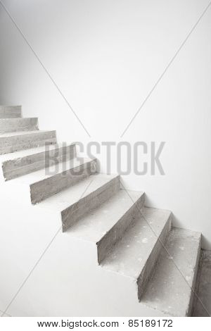 concrete staircase under construction with copy-space poster