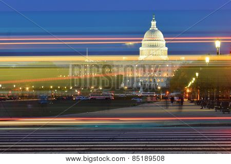 Washington DC - US Capitol Building with car lights trails foreground at night