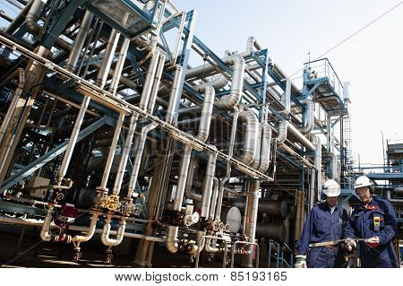 oil workers and the main refinery fuel station supplying shipping industry