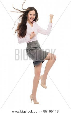 Excited woman clenching fists