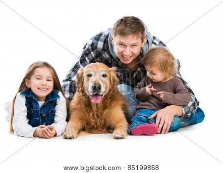 happy smiling familiy - Dad and two daughters  with a big dog  isolated on white