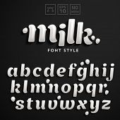 Vector latin alphabet made of milk. Font style. poster