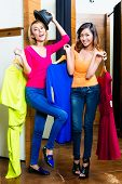 Crazy best friends, two girls, having fun shopping poster