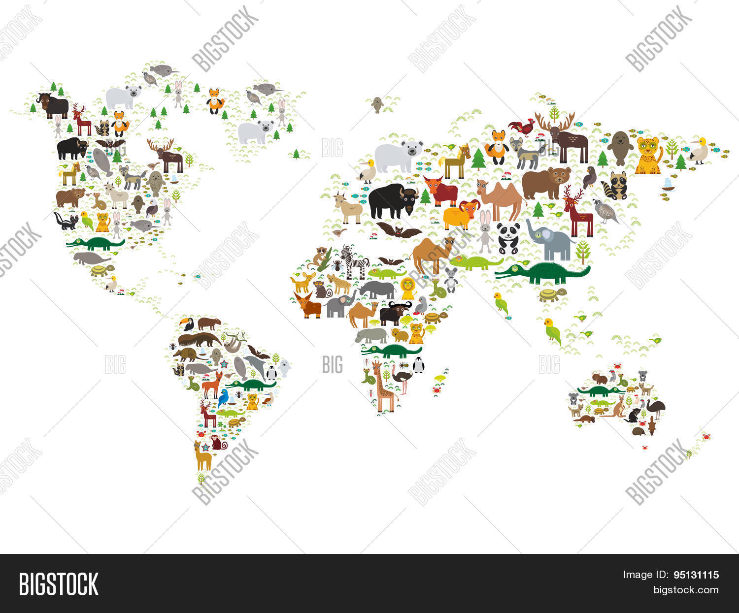 Vector y foto cartoon animal world map children bigstock cartoon animal world map for children and kids animals from all over the world on gumiabroncs Gallery