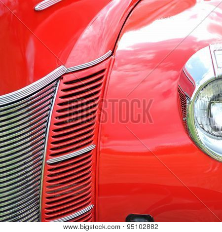Red Antique Car Extreme Closeup