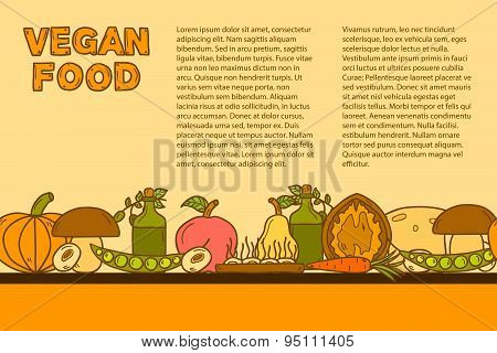 Vector tempate with cute cartoon modern objects in hand drawn style on vegan food theme