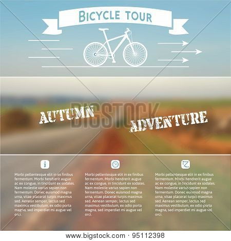Poster with bike on an autumn landscape.