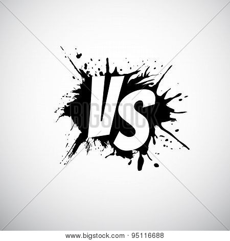Versus letters logo. White V and S on black splash.