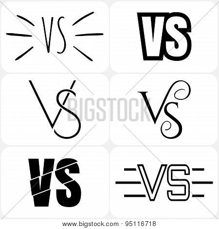 Set of versus letters logo. Bkack letters V and S flat style symbol. poster