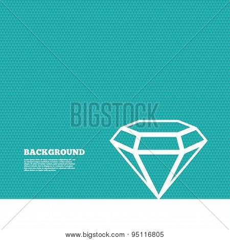 Background with seamless pattern. Diamond sign icon. Jewelry symbol. Gem stone. Triangles green texture. Vector poster