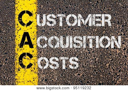 Concept image of Business Acronym CAC as Customer Acquisition Costs written over road marking yellow painted line. poster