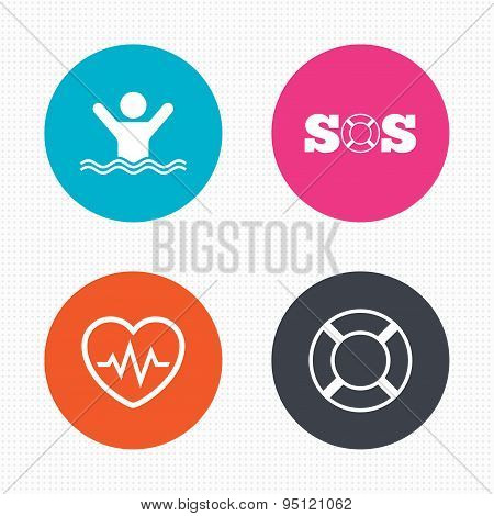 Circle buttons. SOS lifebuoy icon. Heartbeat cardiogram symbol. Swimming sign. Man drowns. Seamless squares texture. Vector poster