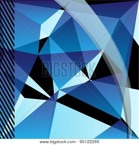 Blue geometric pattern, triangles background, polygonal design