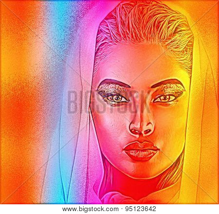 A spiritual woman's face close up with a veil with a colorful abstract gradient effect that adds mys