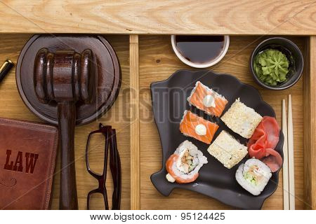Breakfast is a lawyer with the judges' accessories and sushi with wasabi. poster