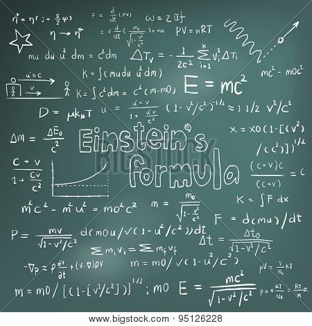 Albert Einstein law theory and physics mathematical formula equation doodle handwriting icon in blackboard background with hand drawn model create by vector poster