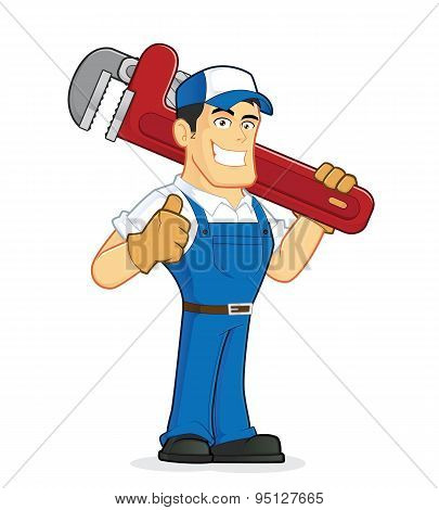 Clipart picture of a plumber cartoon character holding a huge pipe wrench poster