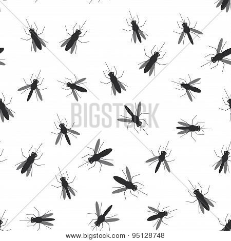 Seamless Pattern Black Silhouettes Of Mosquitoes On White Background. Vector