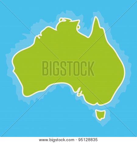 Map Of Australia Continent And Blue Indian Ocean. Vector