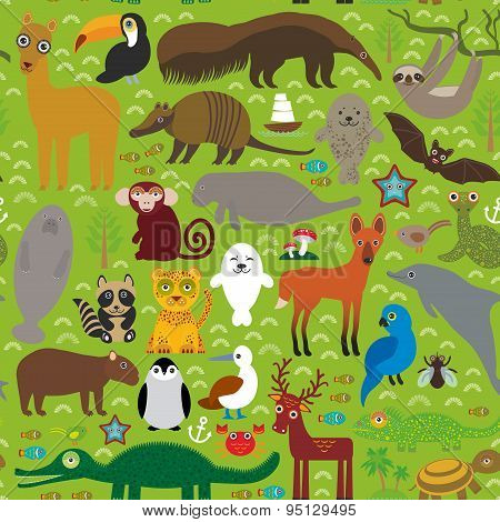 South America Seamless Pattern Sloth Anteater Toucan Lama Fur Seal Armadillo Boa Manatee Dolphin Man