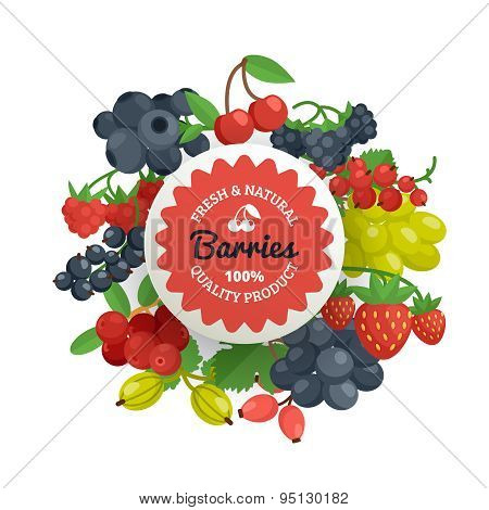 Berries Quality Flat Emblem
