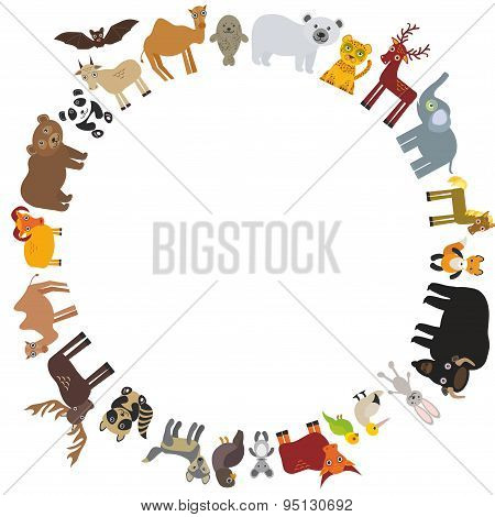Round Frame. Animal Card Template. Bison Bat Fox Wolf Elk Horse Camel Partridge Fur Seal Walrus Goat