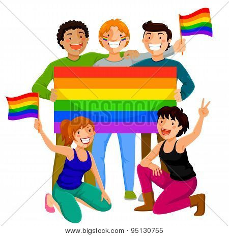 people with rainbow flags
