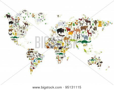 Cartoon Animal World Map For Children And Kids, Animals From All Over The World On White Background.