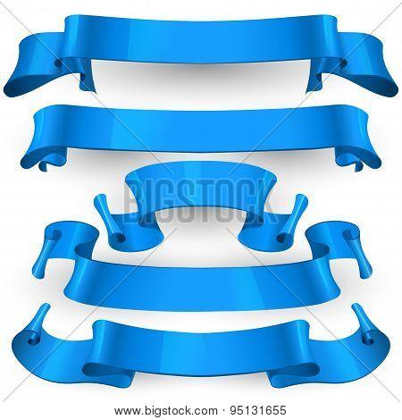 Blue Glossy vector ribbons set