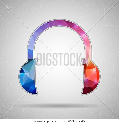 Abstract Creative concept vector icon of headphone for Web and Mobile Applications isolated on backg