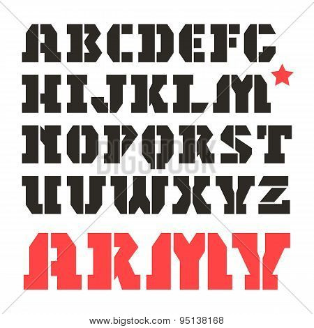 Stencil-plate Serif Font Military