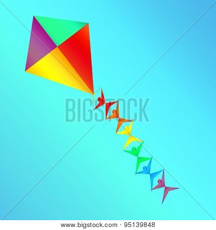 Rainbow Colored Kite With Mini Silhoettes On The String On Blue Sky Background