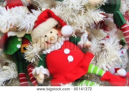 Cute Christmas red and white elf doll ornament poster