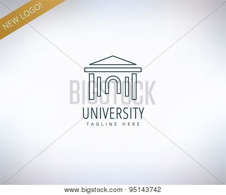 University vector logo icon. Education, students or school and college symbol. Stock design elements