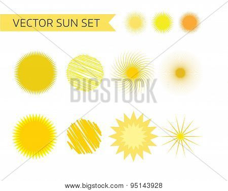 Sun, summer and holiday icons set. Stock vector illustration for design.