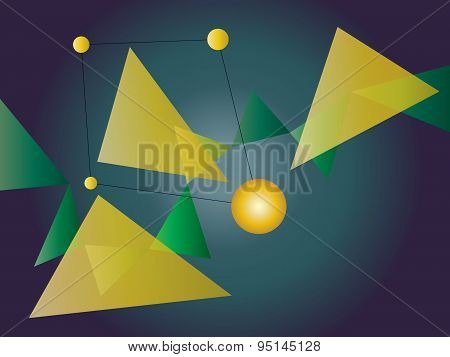 Green And Yellow Abstract Geometric Shape Vector Background With Spheres And Triangles On Gradient
