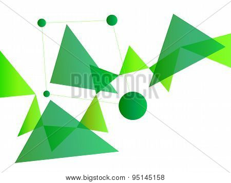 Neon Green Abstract Geometric Shape Vector Background With Spheres And Triangles On White
