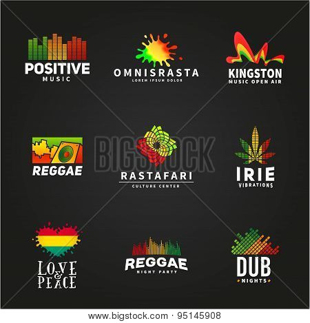 Set of positive africa ephiopia flag logo design. Jamaica reggae dance music vector template. Colorf