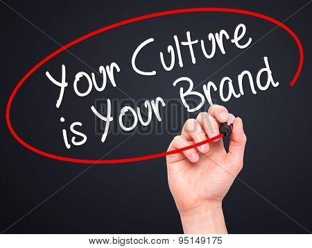 Man Hand writing Your Culture is Your Brand with black marker on visual screen.