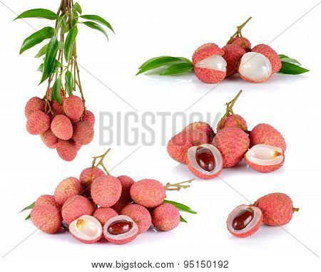 Collection Lychee Or Litchi Isolated On The White Background