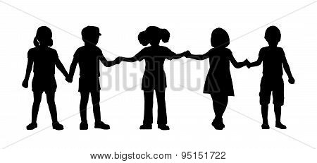 Children Standing Silhouettes Set 8